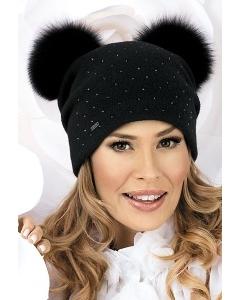 Женская шапка с двумя помпонами Willi Tere