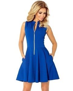 Синее платье с длинной молнией спереди Numoco 123-1