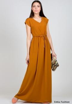 Длинное платье горчичного цвета Emka Fashion PL-414/forsita