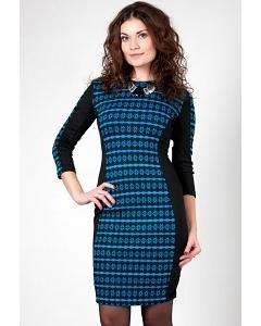 Черно-голубое платье Golub П240-1658-2105