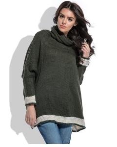 Двухцветный свободный свитер oversize Fobya F469