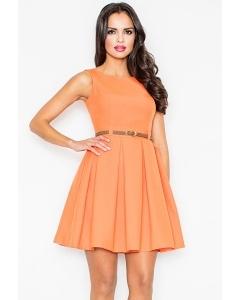 Летнее платье оранжевого цвета Figl M083