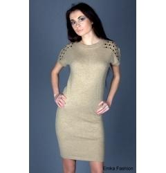 Платье песочного цвета с добавлением ангоры