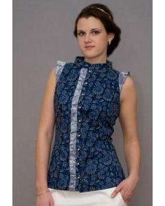 Темно-синяя блузка Golub | Б883-1914-1036