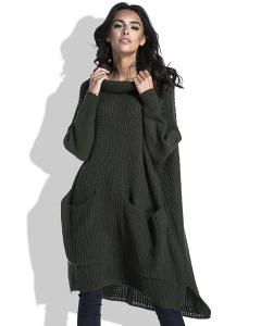 Длинный тёплый свитер оливкового цвета Fobya F445