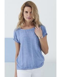 Летняя трикотажная блузка синего цвета Sunwear Q67-2-53